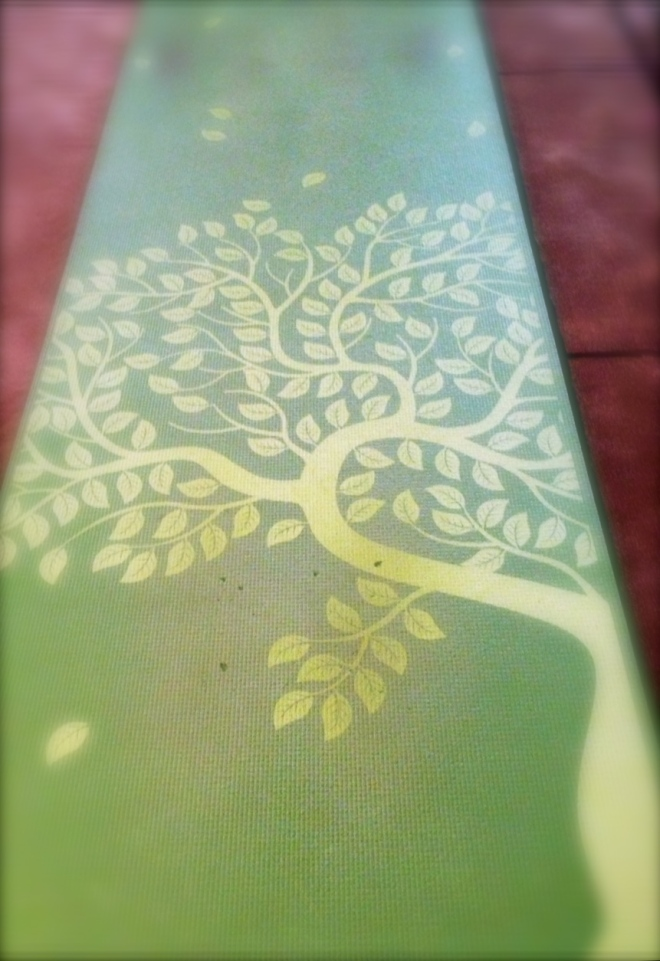My trusty yoga mat.  Just unrolling it and seeing the beautiful tree reminds me to get rooted and grounded while remaining open to what is in my life and to what will come my way.